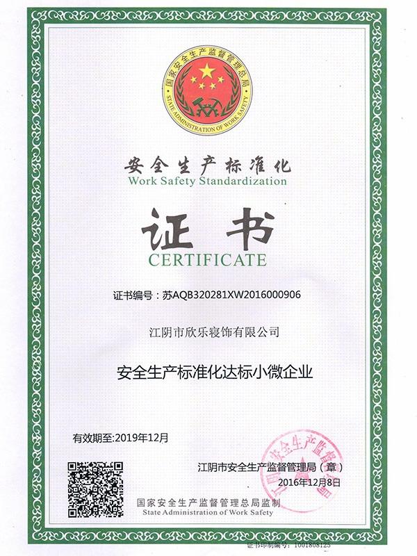 欣乐-安全生产标准化证书